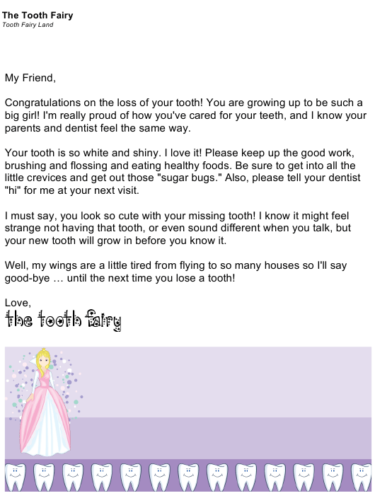 """""""Sample Tooth Fairy Letter"""" Download Pdf"""