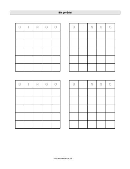 """Bingo Grid Template"" Download Pdf"