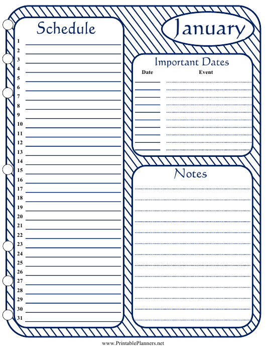 """Monthly Schedule Template - January"" Download Pdf"