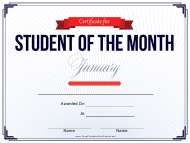 """Student of the Month Certificate Template - January"""