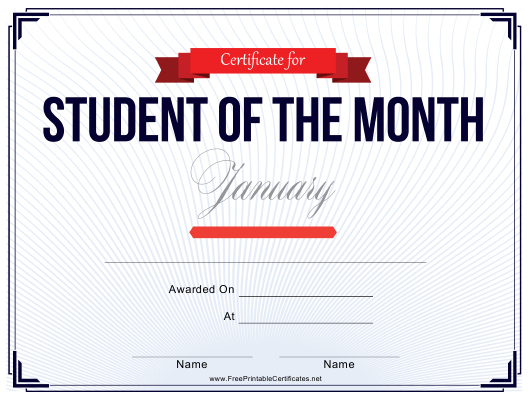"""Student of the Month Certificate Template - January"" Download Pdf"