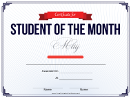 Student of the Month Certificate Template - May