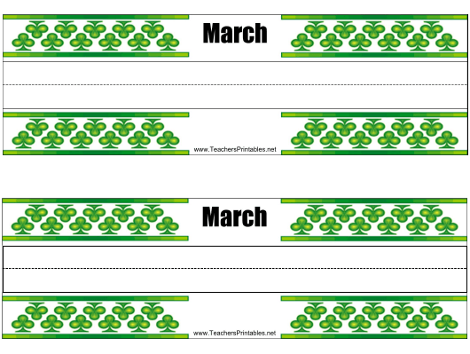 """""""Desk Name Tag Template - March"""" Download Pdf"""