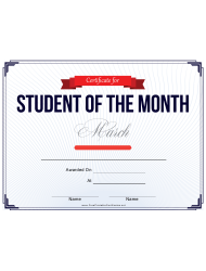 Student of the Month Certificate Template - March