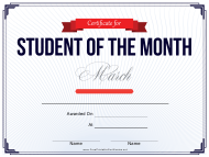 """Student of the Month Certificate Template - March"""