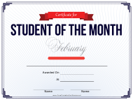 Student of the Month Certificate Template - February