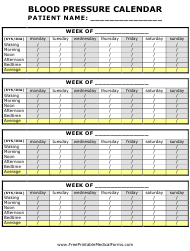 Weekly Blood Pressure Calendar Template