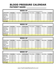 """""""Weekly Blood Pressure Calendar Template"""""""