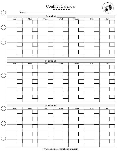"""Conflict Calendar Template"" Download Pdf"