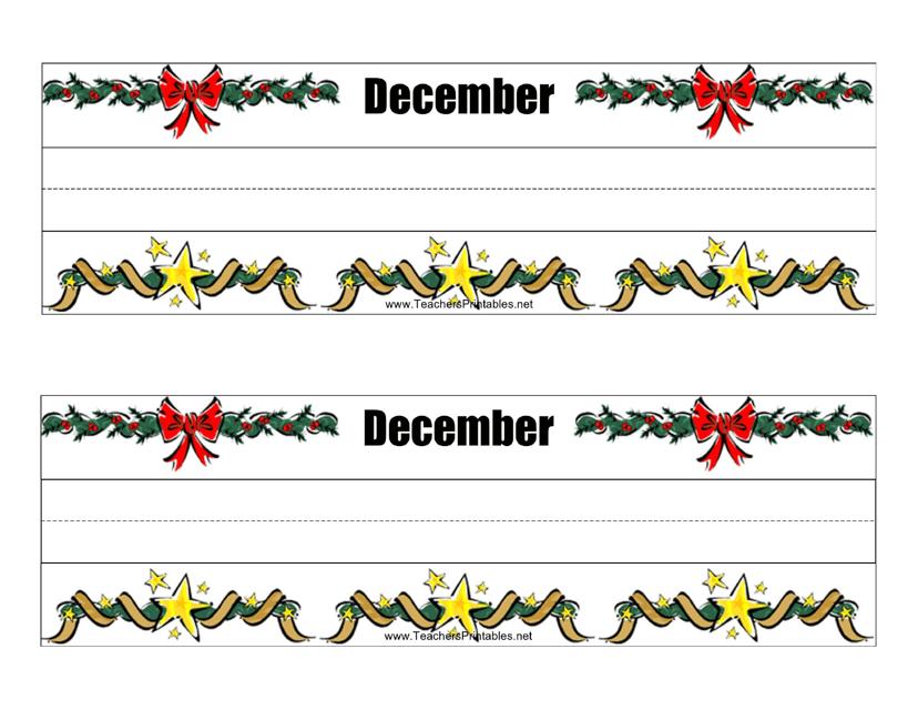 """""""Desk Name Tag Template - December"""" Download Pdf"""
