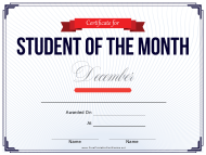 Student of the Month Certificate Template - December