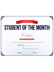 Student Of The Month Certificate Template - October