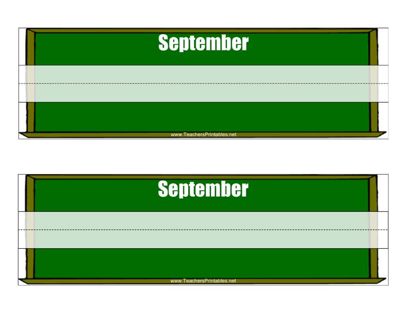 """""""Desk Name Tag Template - September"""" Download Pdf"""