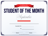 Student of the Month Certificate Template - September