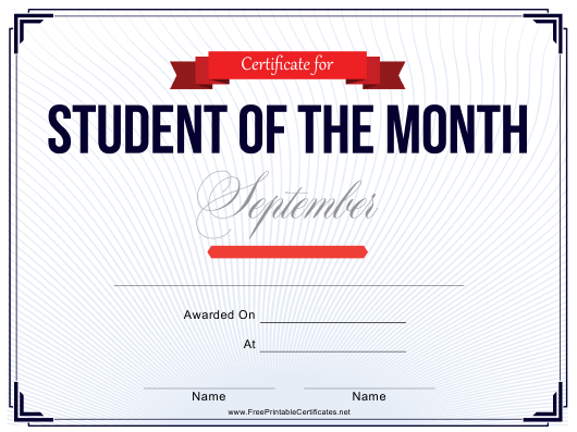 """""""Student of the Month Certificate Template - September"""" Download Pdf"""