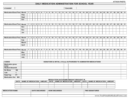 """""""Daily Medication Administration Schedule Template for School Year"""" Download Pdf"""