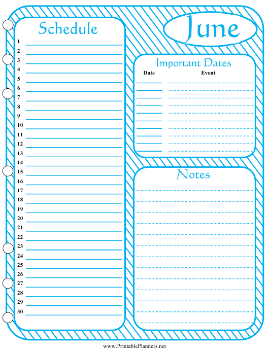 """""""Monthly Schedule Template - June"""" Download Pdf"""