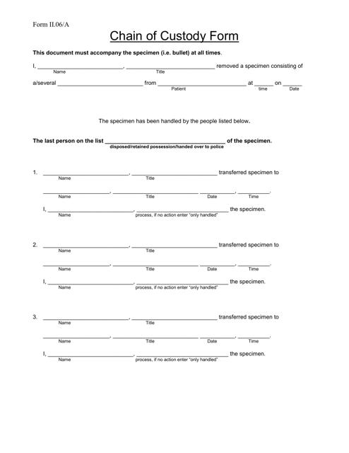 """Chain of Custody Form"" Download Pdf"