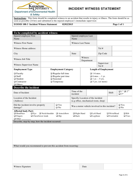 """""""Incident Witness Statement Form - Kennesaw State University"""" Download Pdf"""