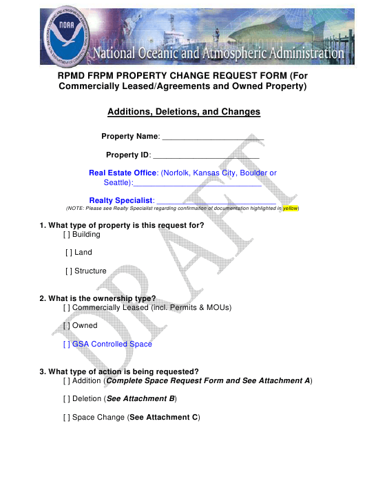 """""""Property Change Request Draft Form for Commercially Leased/Agreements and Owned Property"""" Download Pdf"""