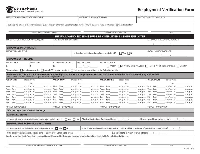 Form CY925  Printable Pdf