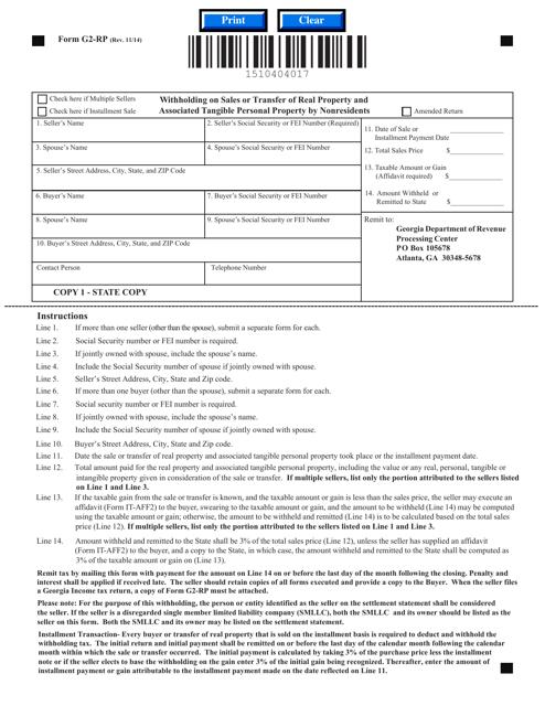 Form G2-RP  Printable Pdf