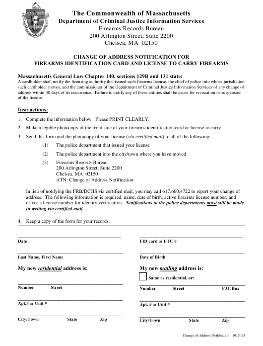 """""""Change of Address Notification for Firearms Identification Card and License to Carry Firearms"""" - Massachusetts Download Pdf"""