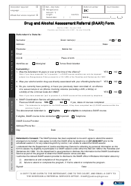"""Drug and Alcohol Assessment Referral (Daar) Form"" - Queensland, Australia"