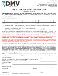 Form VP-222 Application for Vehicle Registration - Nevada