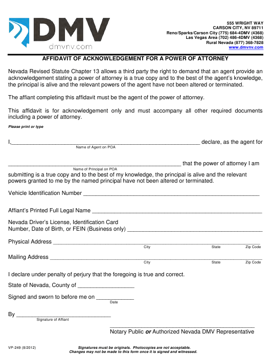 Form VP-249  Printable Pdf