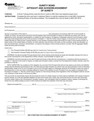 """Form DTS22 """"Surety Bond Affidavit and Acknowledgement of Surety"""" - Virginia"""