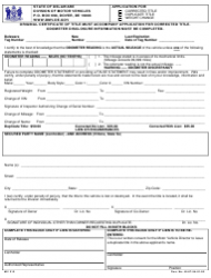 Form MV 213 Application for: Corrected Title/Duplicate Title/Weight Change - Delaware
