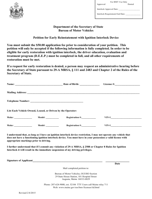 """Petition for Early Reinstatement With Ignition Interlock Device"" - Maine Download Pdf"