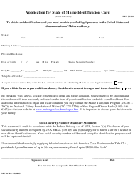 Form MV-16 Application for State of Maine Identification Card - Maine