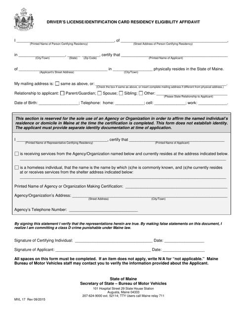 Form MVL-17  Printable Pdf