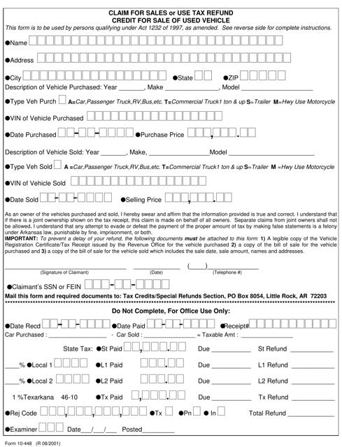 Form 10-448  Printable Pdf