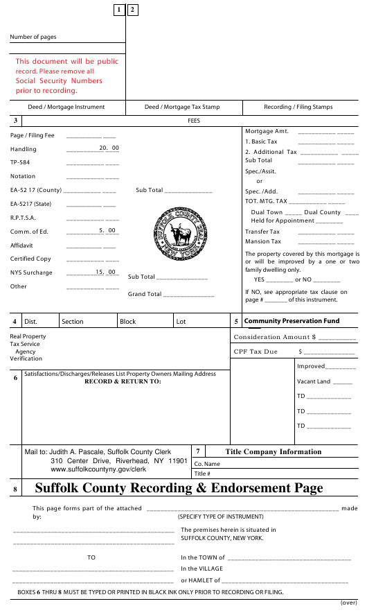 """""""Suffolk County Recording and Endorsement Page"""" - Suffolk County, New York Download Pdf"""