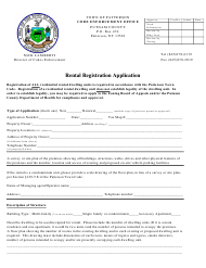 Rental Registration Application Form - Town of Patterson, New York