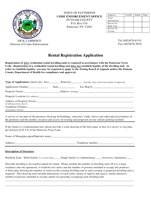 """Rental Registration Application Form"" - Town of Patterson, New York Download Pdf"
