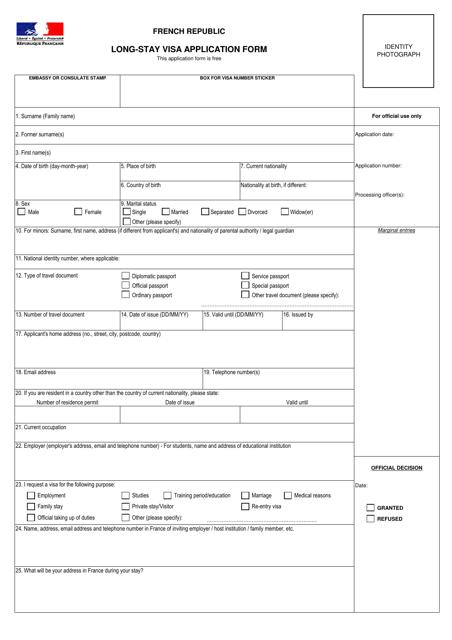 french-republic-long-stay-visa-application-form_big Visa Application Form People S Republic Of China V on