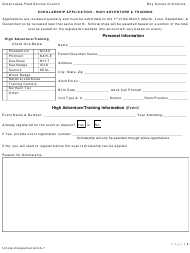 Scholarship Application Form - High Adventure & Training - Boy Scouts of America