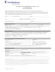 "Form 2335a_20121213 ""Prior Authorization Fax Request Form - Unitedhealthcare"" - Washington"