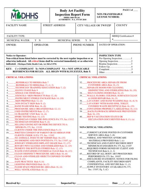 Form DHHS-1468 Printable Pdf
