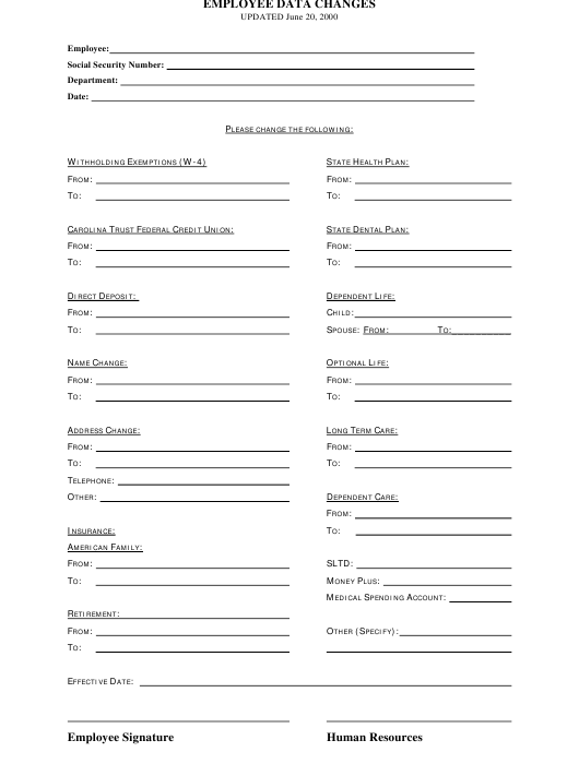 Employee Data Changes Form Download Printable PDF