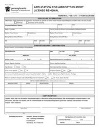 "Form AV-3 ""Application for Airport/Heliport License Renewal"" - Pennsylvania"