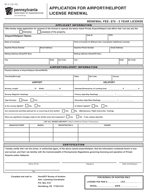 Form AV-3  Printable Pdf