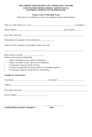 """Tenant Lease Verification Form"" - New Jersey"