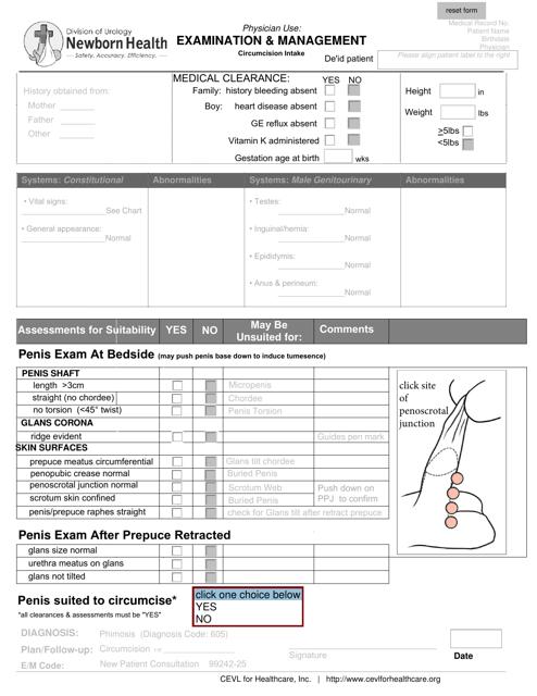 """Patient Circumcision Intake Form - Newborn Health"" Download Pdf"
