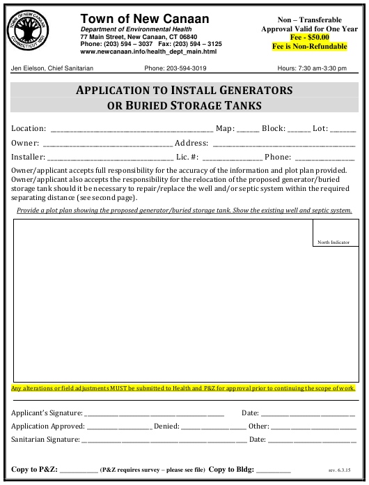 """""""Application to Install Generators or Buried Storage Tanks"""" - Town of New Canaan, Connecticut Download Pdf"""