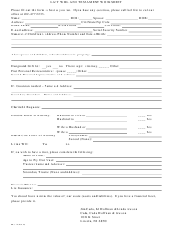 """Last Will and Testament Worksheet Template"""